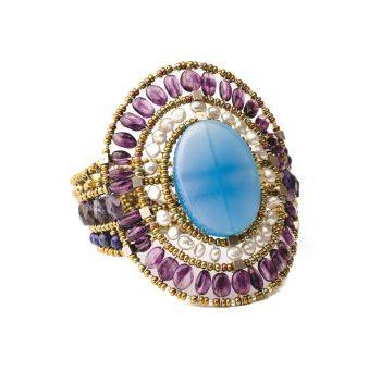 Handmade Bracelet SUN Large Blue Onyx