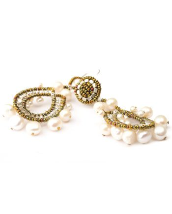 Handmade earrings Crown Pearl