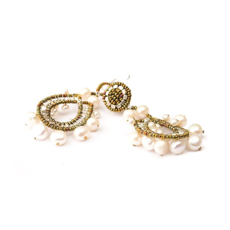 Handmade earrings Crown Pearl