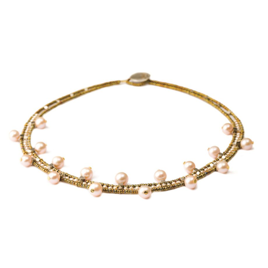 Handmade Necklace Crown Pink