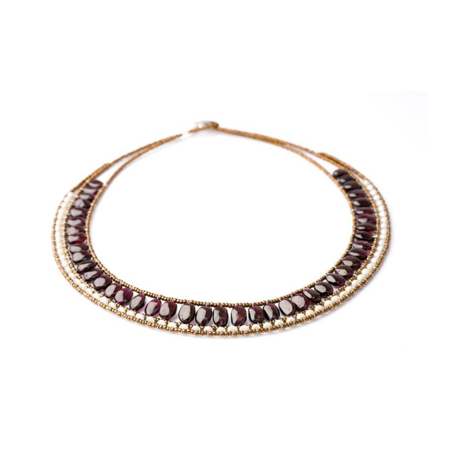 Handmade Necklace RIVIERE Garnet