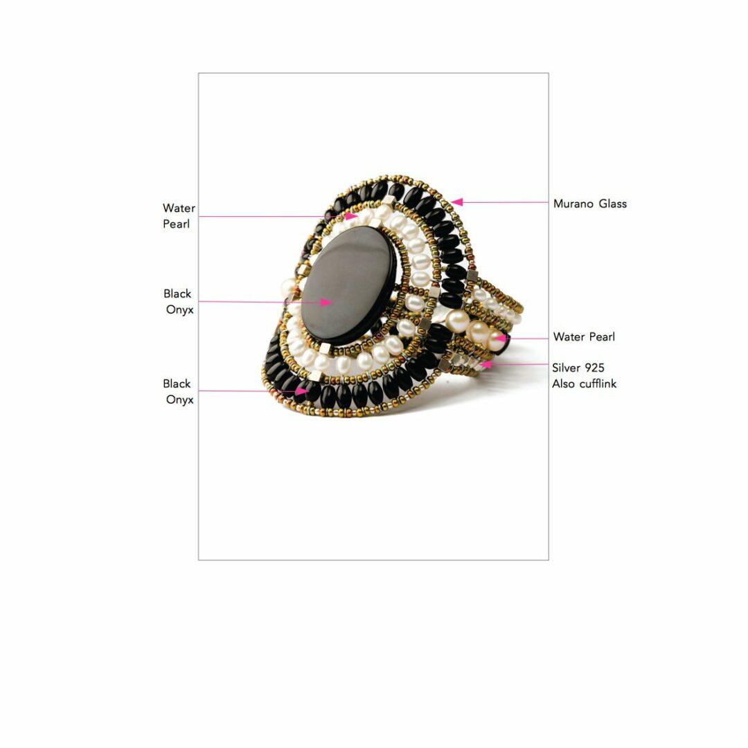 Anneau Pour Les Femmes, Le Verre Noir, Murano, 2017, Une Taille De Bijoux Ziio