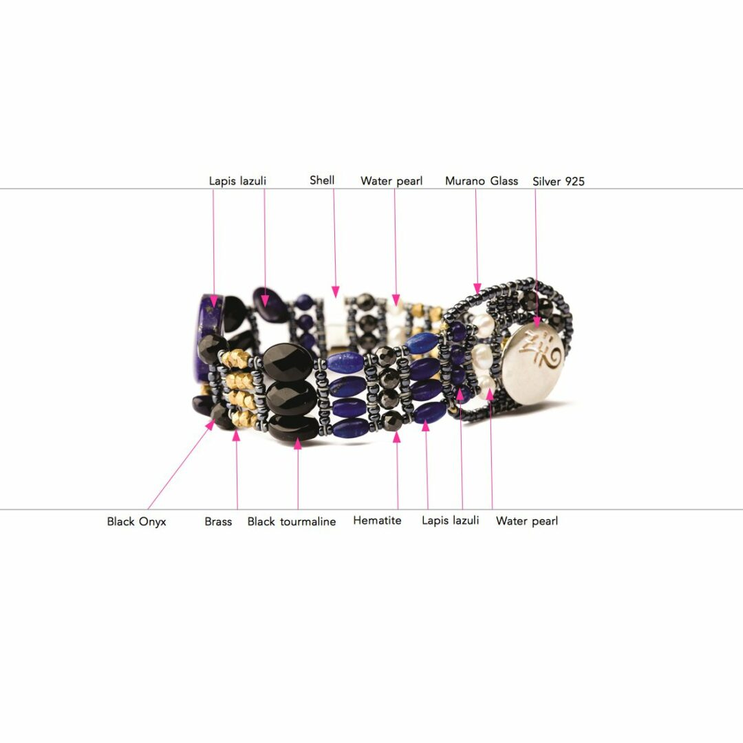 Bracelet for Women, Lapis Lazuli Blue, Silver, 2017, One Size Ziio Jewellery
