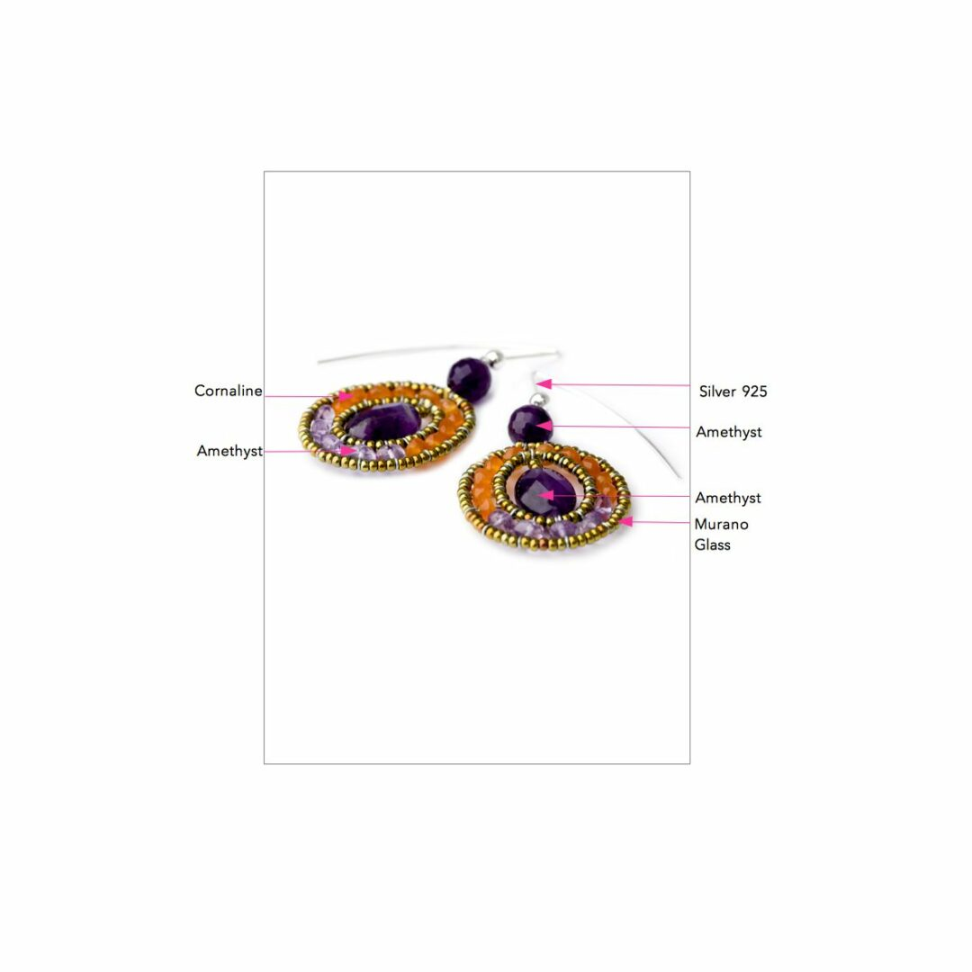 Earrings for Women, Violet, Silver, 2017, One Size Ziio Jewellery