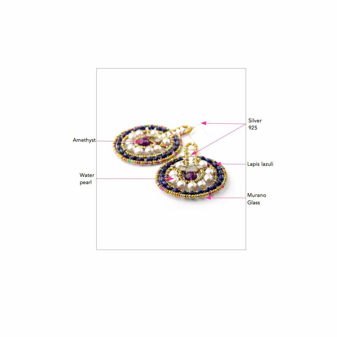 Ziio Jewellery Earrings for Women, Violet, Silver, 2017, One Size