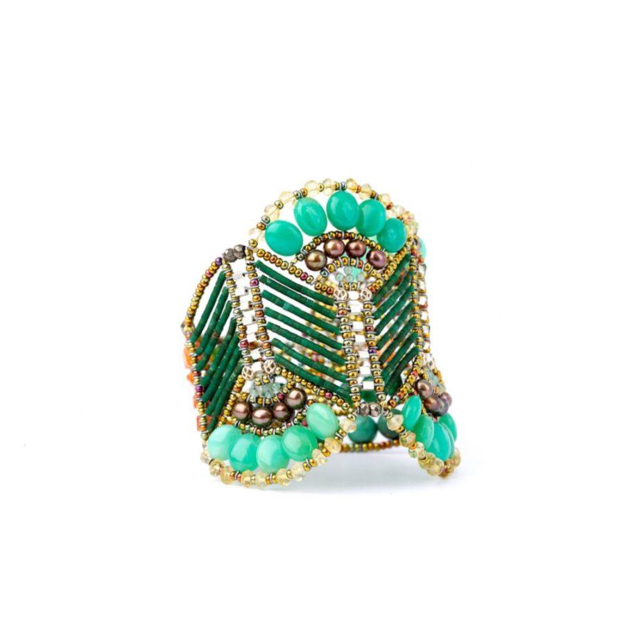 handmade bracelet papyrus green serpentine ziio jewels