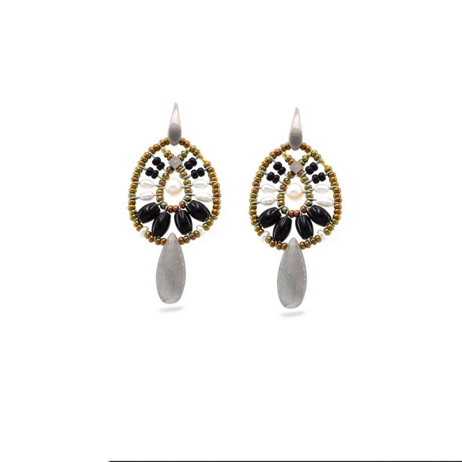 Earrings Fenice Small Black Pearl