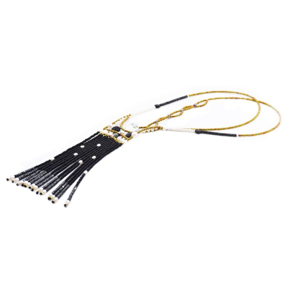 Necklace Fenice long black pearl