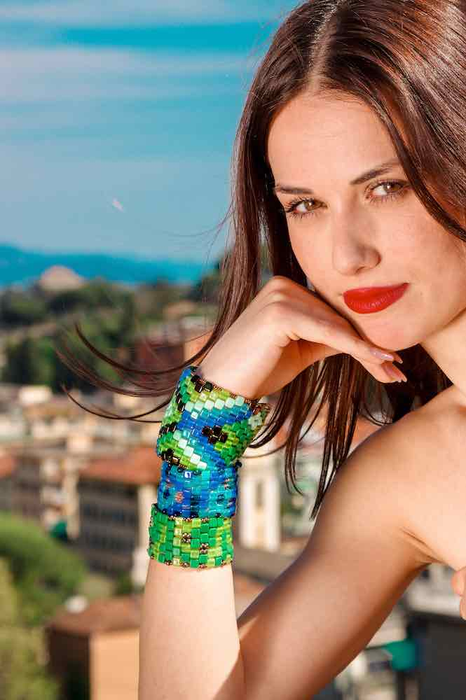 Bracelet Pixel Onda blu Large