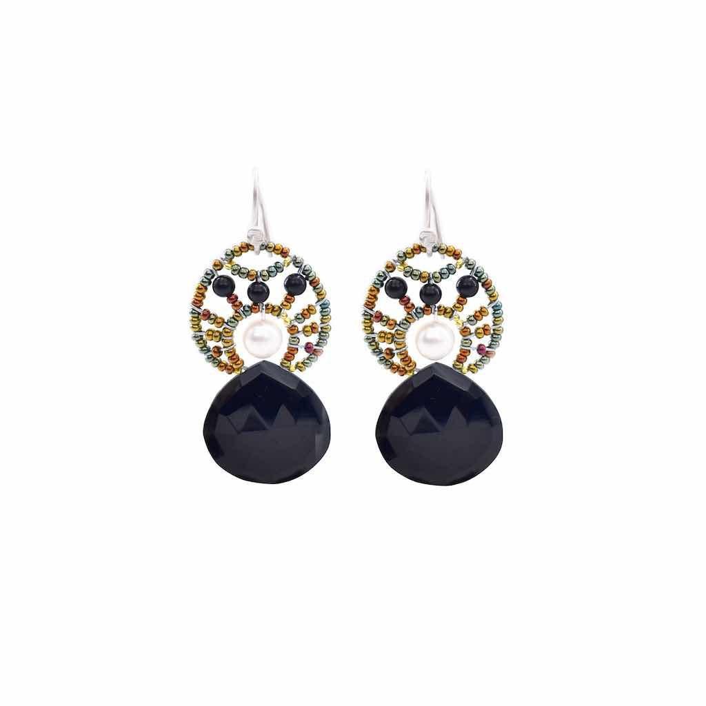 Handmade Earrings HEART MOGHUL Black Pearl
