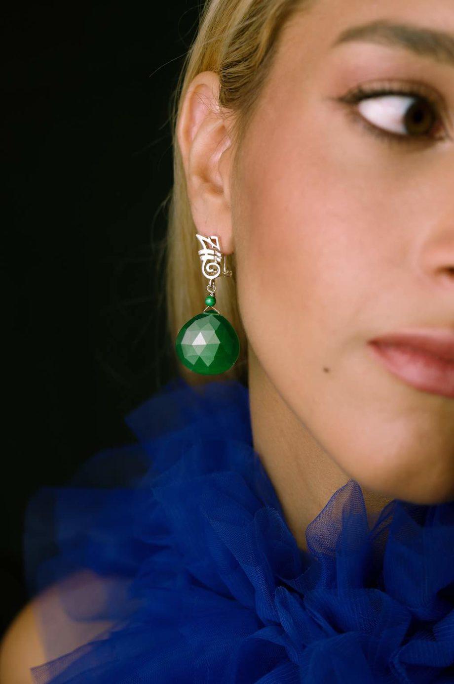Orecchini-HEART-Long-Green