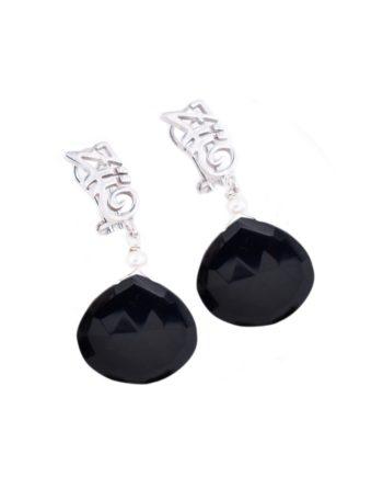 Earrings-HEART-Long-Black
