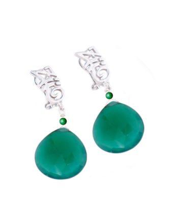 Earrings HEART Long Green