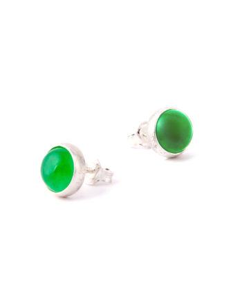 Orcchini Satellite Cabochon Green Jade-Ziio Jewels
