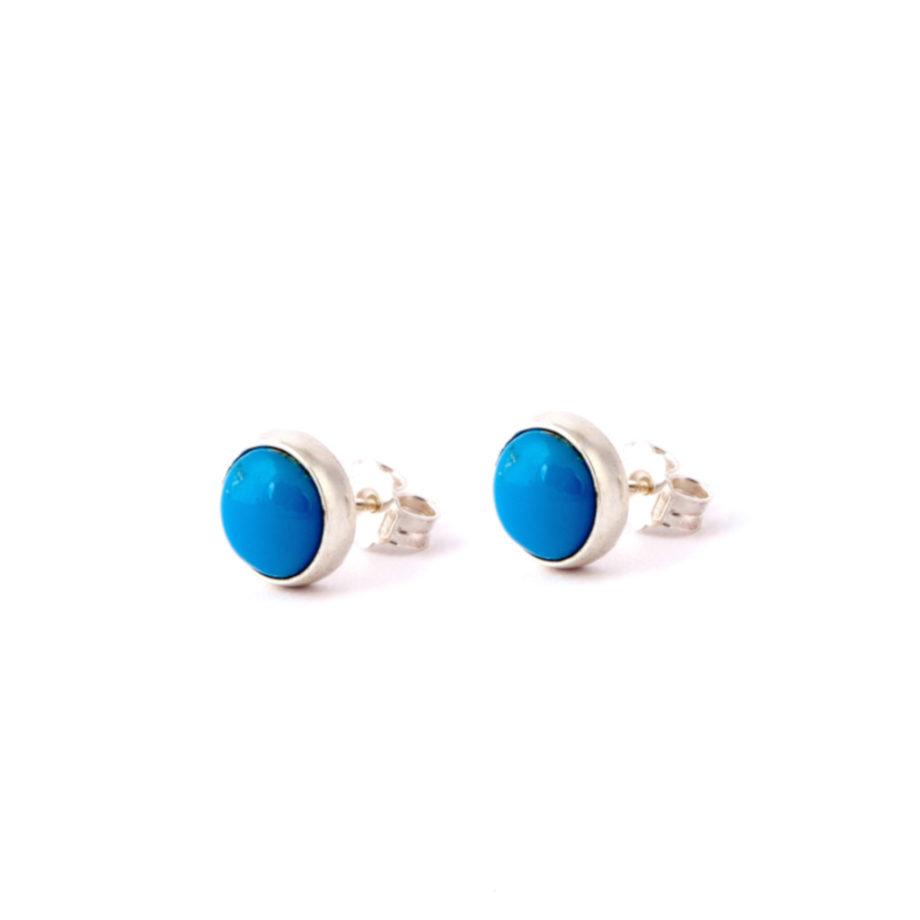 Earrings Satellite Cabochon Turquoise-Ziio Jewels
