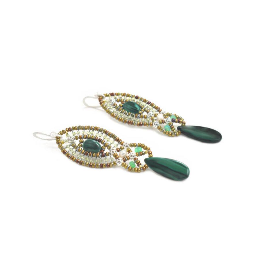 Earrings Rha Malachite-Ziio-Jewels