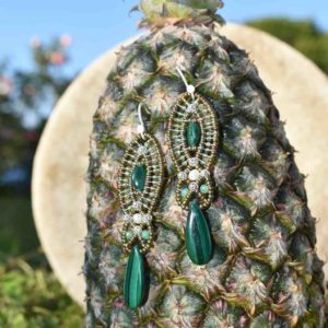Orecchini Rha Malachite-ananas-Ziio-Jewels
