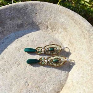 Earrings Rha Malachite - Ziio-Jewels