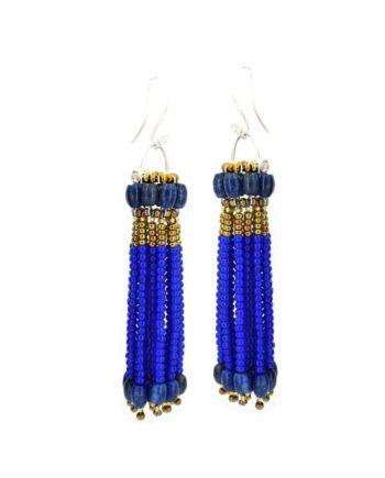 Earrings-pompon-Cobalt Ziio-jewels