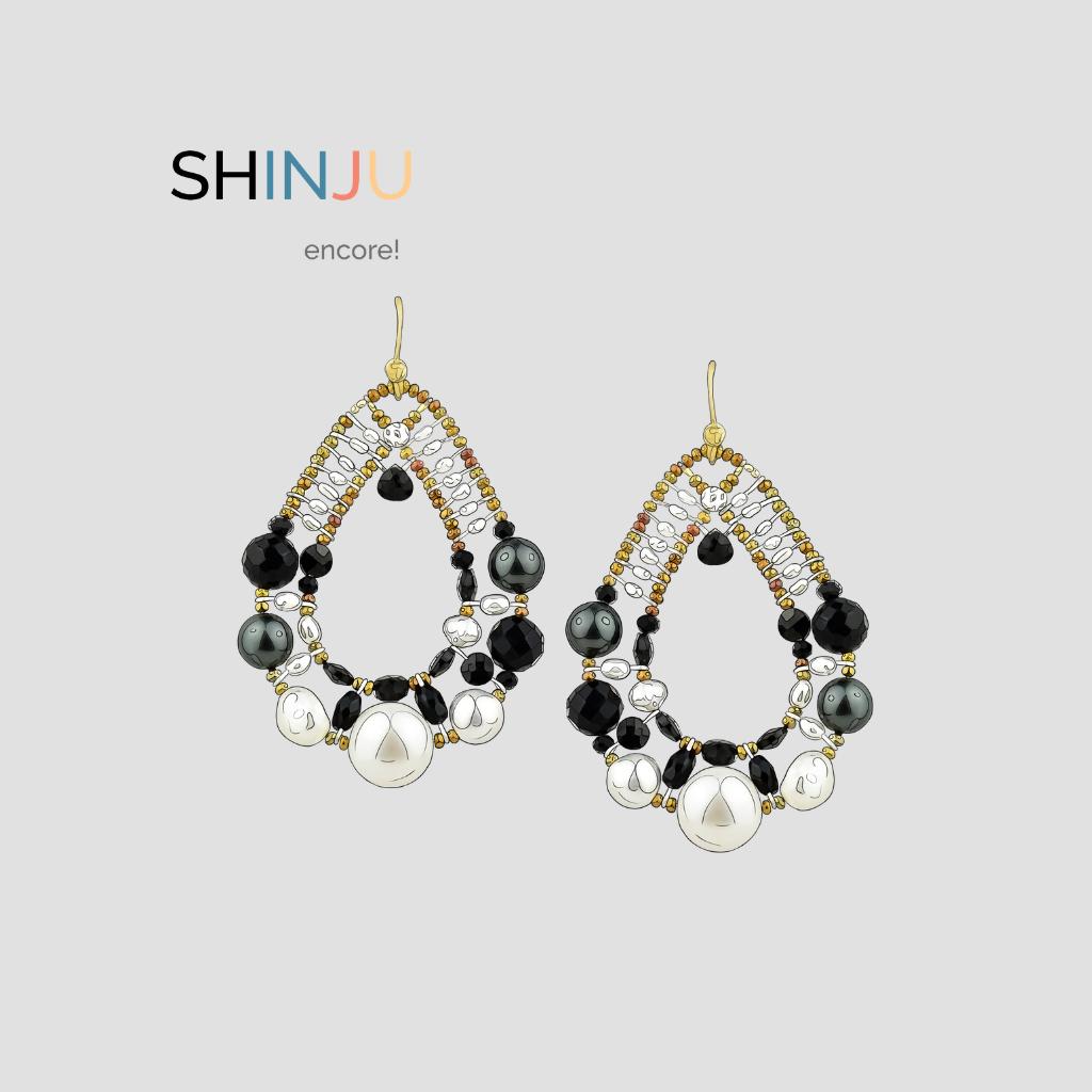 Shinju encore - New colors Earrings-Shinju-Black-design-Ziio-Jewels