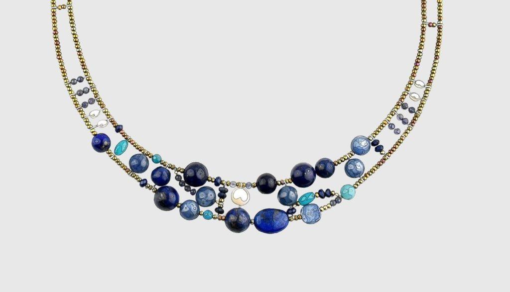 Ziio jewels illustration Necklace Shinju Blu